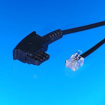 """""""BestPlug"""" 10 Meter Telefon-Kabel / TAE-F Stecker auf RJ11 Stecker / Schwarz"""