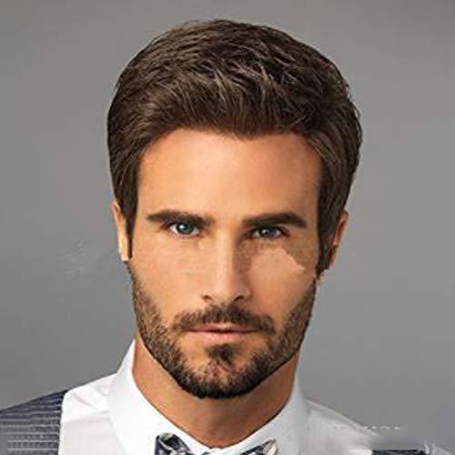 Männer Gut aussehend Fluffy Realistisch Kurzes lockiges HaarReife braune Perücke 15cm ()