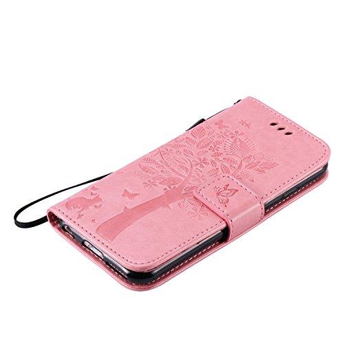 SainCat Apple iPhone 6 Custodia in Pelle,Anti-Scratch Protettiva Corpertura Caso Custodia Per iPhone 6s,Elegante Creativa Dipinto Pattern Design PU Leather Flip Ultra Slim Sottile Morbida Portafoglio  gatto e albero-rosa