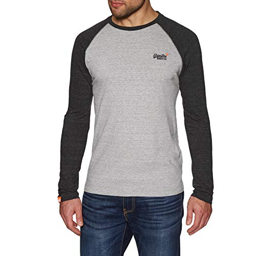 Superdry Orange Label Baseball Long Sleeve T-Shirt Large Pumice Stone -