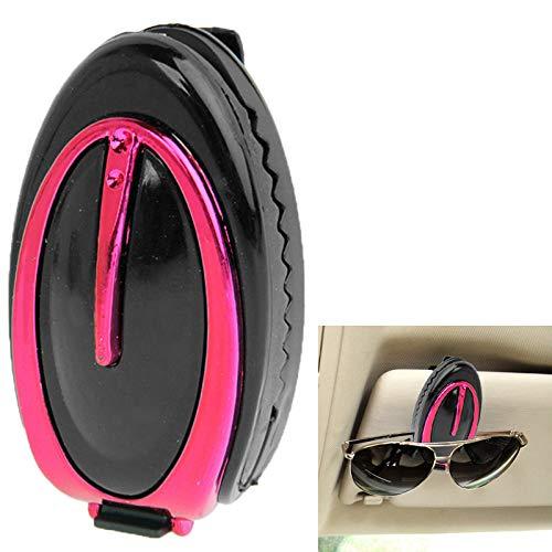 JUNXI Glasses Auto Fahrzeug Sonnenblende Clip Sonnenbrille/Brillenhalter (Silber) Neueste Top (Farbe : Magenta)