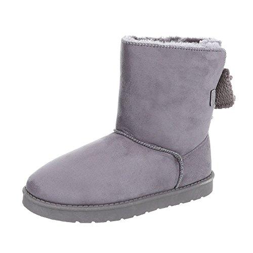 Stiefel & Boots Kinder-Schuhe Klassischer Stiefel Mädchen Ital-Design Stiefeletten Grau, Gr 28, 5726-1- (Winter Kinder Boot)