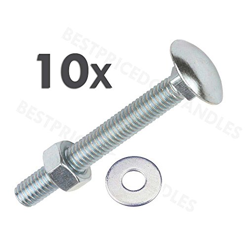 coach-bolts-m6-x-150mm-pack-of-10-carriage-bolts-with-hex-nuts-and-washers-zinc-plated-cup-square-bo
