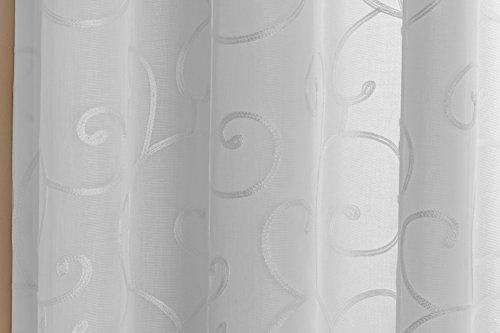 "Chelsea White Readymade Fully Lined Voile Eyelet Ring Top Curtains With a Lovely Scroll Design 90 "" x 90 "" ( 229 cm x 229 cm )"
