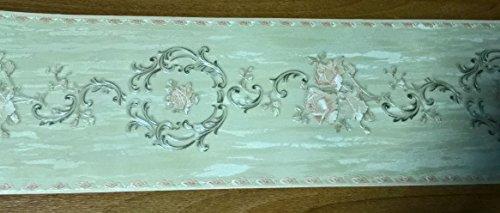 Griechische Bordüre klassisch Floral Waschbar Effekt Stoff Satin mit Rose und Medaillons A Relief Elfenbein und Puder 509718Palace Rasch -