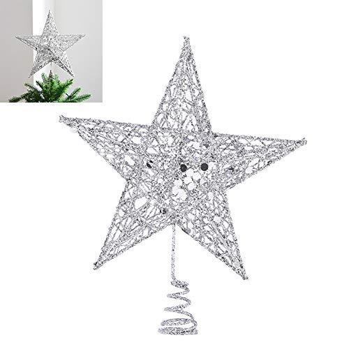 Eiseyen - puntale per albero di natale a forma di stella, in metallo, 25 cm, con glitter, colore: oro/argento/rosso argento