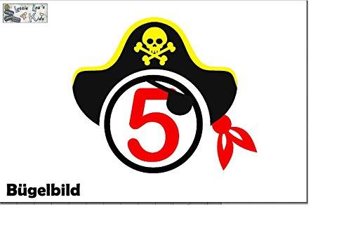 r Geburtstag Birthday Pirat Pirate Augenklappe Hut Cap Zahl in Flex, Glitzer, Flock, Effekt in Wunschgröße ()