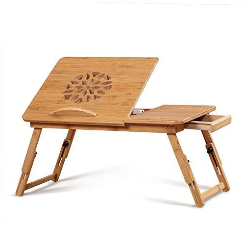 cj-CJ Bambus-Laptop-Schreibtisch,Verstellbares Bett Tisch Tragbare Bett tablett Faltbare Laptop Notebook pc Tisch Computer Schreibtisch-A 50x30x25cm(20x12x10) -