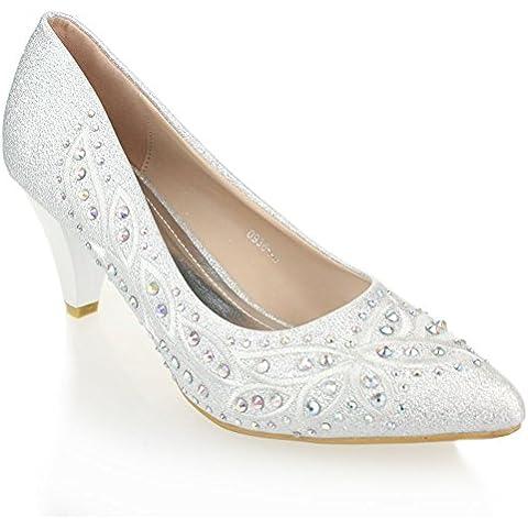 Aarz Boda señoras de las mujeres de la tarde Corte Diamante sandalias de tacón bajo Prom Party Bridal Shoes Tamaño (oro, plata)