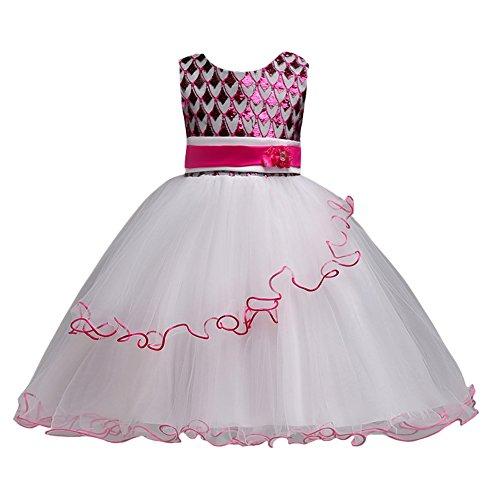 LSERVER Blume Kleid Mädchen Festliche Spitzekleider Tutu Kleid Partykleid Kleinkinder Hochzeit Kleid,Rose,116/122 (Kleinkind Passt Kleid)
