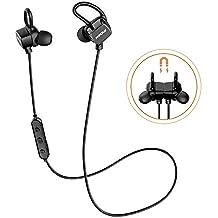 Mpow S3, Auriculares Bluetooth Magnéticos, Auriculares Inalámbricos In-ear Cascos Deportivos Resistente al Agua IPX6 con Micrófono Sudor Manos Libres Cancelación de Ruido CVC 6.0 iPhoneX 8 7 Plus Huawei Sony(Versión Actualizada Negro)
