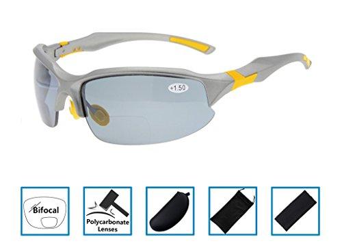 Gr8Sight UV400 Wraparound Designer Style Sport Half-Rimless Tinted Bifocal Lesebrille Sun Leser mit Fall Männer Frauen Grauer Rahmen Grau Objektiv +2.00 (Männer Sun-leser Lesebrille)