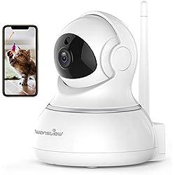 Wansview Caméra IP sans Fil, Caméra Surveillance WiFi, Caméra Bébé, Caméra Sécurité de Animal de Compagnie/Personnes Âgées avec Audio Bidirectionnel, Vision Nocturne Pan/Tilt-Q3 (Blanche)