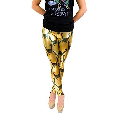 Marvel Loki All Over Helmet Print Gold Foil Leggings (Juniors XXL) - Foil Print Leggings