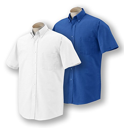 Mens Short Sleeve Oxford Shirt (Van Heusen Men's Short-Sleeve Oxford Dress Shirt, 1 English Blue + 1 White, Small)
