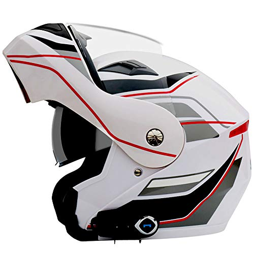 Kilife Motorradhelm, Full Face Motorrad-Lokomotivenhelm mit Bluetooth FM/Flip Up-Motocross-Helme mit Anti-Fogging-Objektiv,L