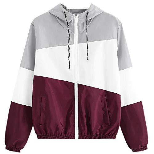 Longra Damen Sweatjacke mit Kapuze Classics Sport-Mantel Patchwork Hoodie Zip Sport Jacke Kapuzenpullover leichte Jacke Damen Sweat-Shirt-Jacke - Patchwork Zip
