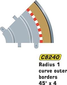 Super Slot 500008240 Curva con borde exterior para circuito de carreras eléctrico (radio 1, 45º, escala 1:32) importado de Alemania