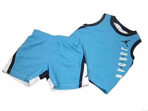 Nike-basketball-shorts-blau (Nike Air Jordan Baby Jungen Basketball Jersey Set mit Weste & Shorts 12 oder 18 Monate, blau, 652594-U40)