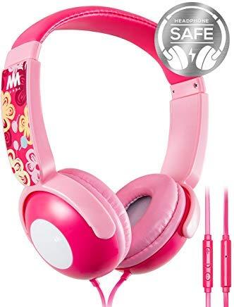 Mumba Kinder Kopfhörer mit Begrenzter Lautstärke, Over Ear Jugendliche Headset mit Mikrofon, Leicht Faltbare Sportkopfhörer für Jungen und Mädchen (Rosa)