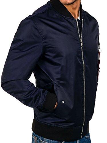 BOLF – Veste sans capuche – Fermeture éclair – Motif – Homme 4D4 Bleu foncé