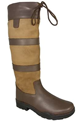 Adults Ladies Mens Waterproof Winter Yard Riding Wellington Country Boots Tan Wide Fit Size UK 9