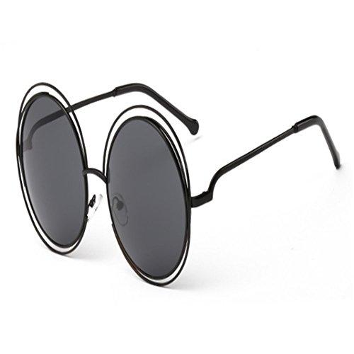 o-c Fashion 62mm gran tamaño gafas de sol de la mujer negro Black frame,grey lens
