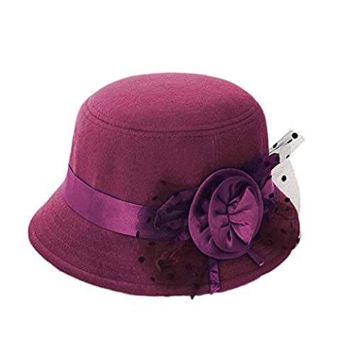 Koly Women Party Travel Retro Floral Bowler Solid Color Fedora Hat Bowler Caps (Purple)