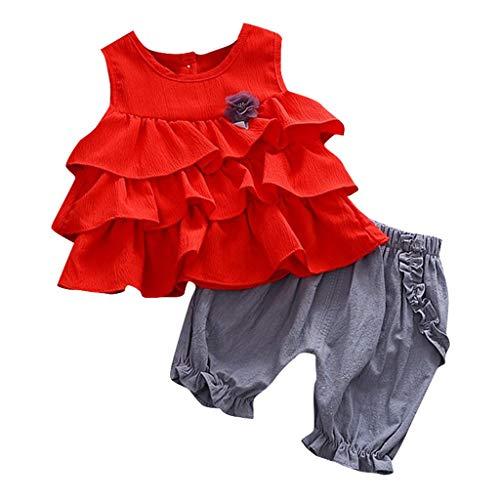 JUTOO Baby Mädchen 2 Stücke Set Kleinkind Kinder Rüschen Blumen Tops + Einfarbig Geraffte Shorts Hosen Outfits (rot,80/8)