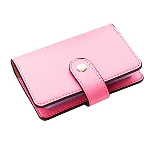 sunnymi Fashion Top Leder Große Kapazität ★ Kartentasche ★Candy Color Bank Kreditkarten/24 Seiten 2 Führerschein (Rot) (Drawstring-sport-pack)