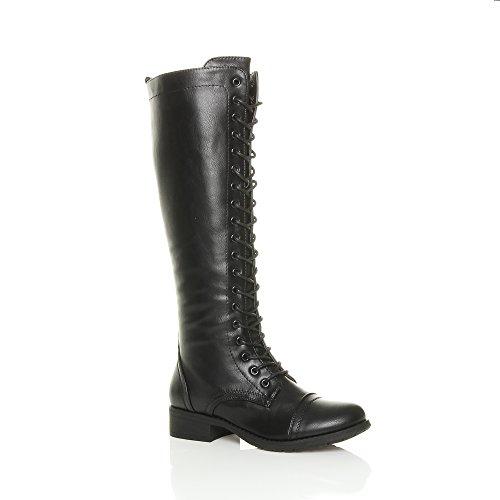 womens-ladies-flat-low-block-heel-lace-up-zip-calf-biker-military-boot-size-7-40