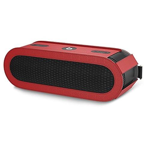 MoKo Beats Pill+ Lautsprecher Schutzbox Schutzhülle, Premium PU Leder Hülle Tragetasche Reisetasche für Beats by Dr. Dre Pill 2 Bluetooth Wireless Lautsprecher, mit Handschlaufe / Karabinerhaken, Rot