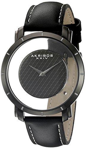Akribos XXIV Hommes de montre à quartz avec affichage analogique et bracelet en cuir noir cadran noir ak856bk