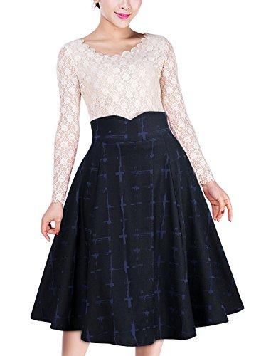 Miusol Damen Elegant Faltenrock Zweireiher Causal Business Vintage 1950er Jahr Röcke Dunkelblau...