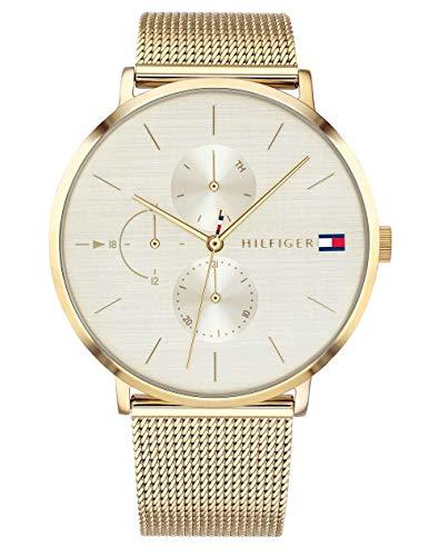 Tommy Hilfiger Damen Multi Zifferblatt Quarz Uhr mit Paqué or Armband 1781943