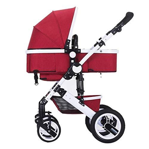 LQRYJDZ Kinderwagen Anti-Shock Springs Faltbarer Kinderwagen Travel System Kinderwagen (2 in 1 tragbar) mit 5-Punkt-Sicherheitsgurt (Color : A)