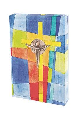 Butzon & Bercker 630271 Glasquader zum Aufstellen, Motiv Kreuz mit Korpus aus Bronze