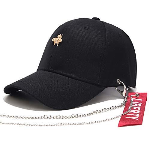 zhuzhuwen Neuer Hut weiblichen koreanischen Mode Gürtel Eisenkette Kappe Frühling Sommer Sonnenschirm Wilde Biene Baseballmütze Flut 3 56-62cm -