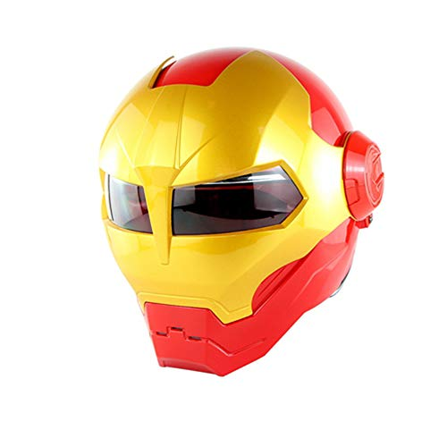 Iron Man Persönlichkeit Motorradhelm Integralhelm D.O.T Certified Road Race Cross Country Spiel Casco Moto Flip Offene Gesichtsmaske (M, L, XL),XL
