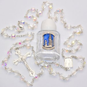 Crystal Rosary Beads Prayer Card & Bottle of Blessed Lourdes Water FROM LOURDES