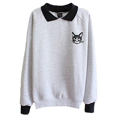 Teen Mädchen Katze Drucken Sweatshirt Langarm Bluse Lose Pullover Dünn Shirt Grau (Peter-pan-kragen-bluse Mädchen)