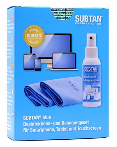 SUBTAN blue Set - 100 ml Desinfektions- und Reinigungs-Spray zum Desinfizieren ohne Alkohol und Reinigen von Smartphone, Tablet, Laptop und Touchscreen + 2 x Premium Microfaser-Tuch 30 x 38 cm
