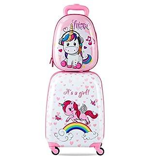 2-TLG-Kinder-Kofferset-Kindergepck-Set-Reisekofferset-Kindertrolley-Handgepck-Kinderkoffer-Rucksack-Einhorn-rosa