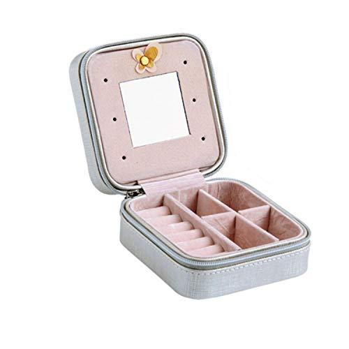 cool show Damen-Schmuckkästchen, Mini-Ohrstecker und Ringe, mit Reißverschluss, tragbare Leder-Aufbewahrungsbox, Vliesstoff, 1s, Einheitsgröße (Durchsichtigen Kunststoff-platten Quadratisch)