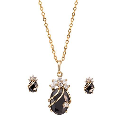 Yazilind Frauen 18K Gold überzog Schwarz-Charme-Ketten-Anhänger-Halsketten -Bolzen-Schmuck-Set für Hochzeit