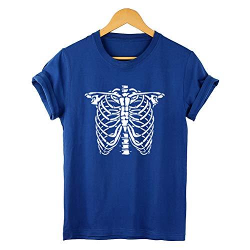 Frauen Halloween Hemd Schädel Druckt Shirt Beiläufige Kurzarm T-Stücke - Hausgemachte Skelett Kostüm