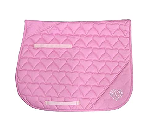 Derby Originals Crystal Hearts Quilted Saddle Pad, Pink