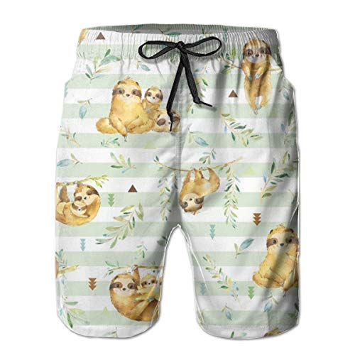 IconSymbol Sloths Hangin On, Soft Green Stripe - Children's Bedding Baby Boy Nursery, Large Scale Men's Swimming Trousers Quick-Drying Beach Board Shorts with Mesh Lining Baby Boys-canvas Jacket