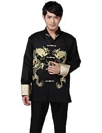 JTC Tai Chi Top Royal Kung Fu Jacket for Men Chinese Silk Shirt Black