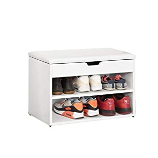 SoBuy Wooden Shoe Cabinet, 2 Tiers Shoe Rack Shoe Storage Bench with Folding Padded Seat, White, FSR25-W